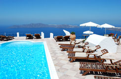 Greek resort. Beautiful Greek resort with sea background, Santorini Island, Greece Royalty Free Stock Photography