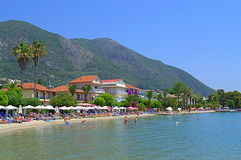 Greek resort beach Royalty Free Stock Image
