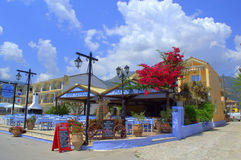 Greek resort restaurants Royalty Free Stock Image