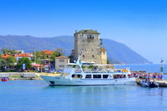 Ouranoupoli wharf vacationers view Greece Stock Images
