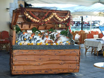 Greek restaurant. Fish and seafood display, Rethymnon, Crete, Greece royalty free stock photography