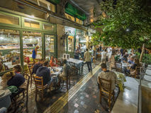 Greek restaurant and bar exterior Stock Photos