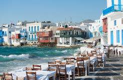 Greek Restaurant By The Beach Royalty Free Stock Images