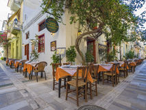 Greek restaurant exterior Stock Photos