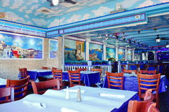Greek Restaurant Interior Royalty Free Stock Photos