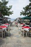Greek restaurant Thassos in Potos Stock Images