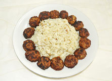 Greek rice pilaff with meatballs Royalty Free Stock Photos