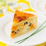 Greek Rice, Pumpkin, Kalamata Olive and Feta Pie stock images