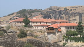 Greek rocks monasteries in Meteora stock footage