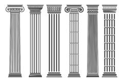 Greek and Roman columns set. Temple building element, elegant architecture and classical decoration. Vector flat style illustration isolated on white Stock Photos