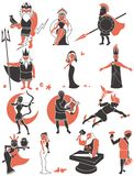 Greek / Roman Gods. Set of Greek / Roman gods over white background. No transparency and gradients used royalty free illustration
