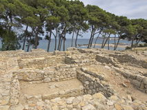 Greek-Roman historic site at Empúries beach Royalty Free Stock Images