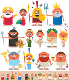 Greek / Roman Pantheon. Set of cartoon Greek / Roman gods over white background. No transparency and gradients used stock illustration