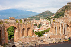 Greek-roman theater, Taormina Royalty Free Stock Images