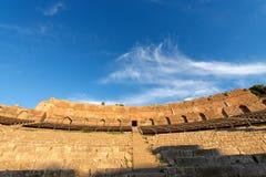 Greek Roman Theater in Taormina - Sicily Italy. Ancient Greek Roman theater at sunset in Taormina town, Messina, Sicily island, Italy II century AD Stock Photo