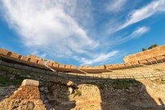 Greek Roman Theater in Taormina - Sicily Italy. Ancient Greek Roman theater at sunset in Taormina town, Messina, Sicily island, Italy II century AD Stock Photos