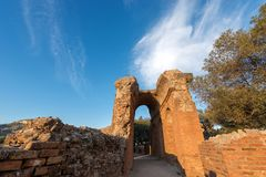 Greek Roman Theater in Taormina - Sicily Italy. Detail of the ancient Greek Roman theater at sunset in Taormina town, Messina, Sicily island, Italy II century AD Royalty Free Stock Photo