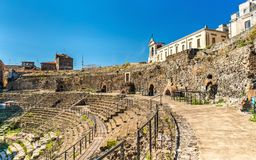 Greek-Roman Theatre of Catania in Sicilia, Italy Royalty Free Stock Images