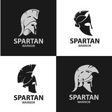 Greek and Roman warriors helmets. Silhouettes of gladiatorial combat hats. Isolated Spartan soldiers` helmets Royalty Free Stock Photography