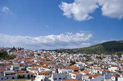 Streets of Skiathos island in Greece, houses roofs. Buildings roofs on Skiathos island, Greece royalty free stock photo