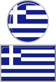 Greek round and square icon flag. Vector Royalty Free Stock Photography