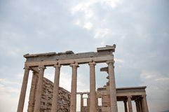 Greek Ruins. In Athens greece temple with pilars Royalty Free Stock Photos