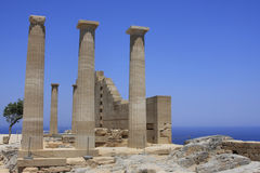 Greek ruins. Ruins of ancient temple, Lindos, Rhodes island, Greece Royalty Free Stock Photo