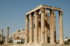 Greek ruins in Athens. Partly reconstructed Greek stone pillars in front of the Pathenon stock photos