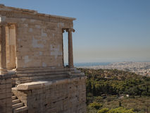 Greek ruins overlooking Athens in Greece Royalty Free Stock Image