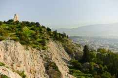 Greek ruins overlooking Athens. From a mountain top Stock Photos