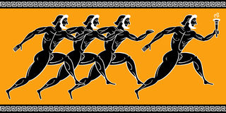 Greek runners. Ancient greek runners with torch Royalty Free Stock Images