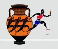 Greek runners. Running with a torch from the ancient greek amphora royalty free illustration