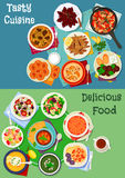 Greek and russian cuisine icon set for menu design Stock Image