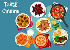 Greek and russian cuisine lunch menu icon Stock Photos