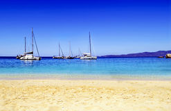 Greek sailboats in Zante Stock Photos