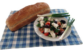 Greek salad -1. Greek salad and hand made bread royalty free stock photos