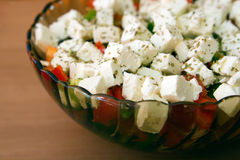Greek Salad. A plate with Greek salad with fresh vegetables Royalty Free Stock Image
