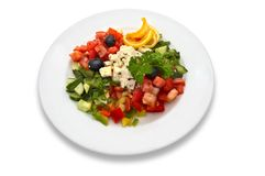 Greek salad. Salad made of fresh tomatoes, feta cheese, cucumbers, red peppers, lemon slices, olives and parsley Stock Images