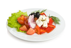Greek salad. With a goat cheese Stock Photos