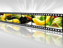 Greek salad. Mixed salad in a film, concept Stock Photo