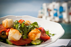 Greek salad. By the beach in Mykonos Stock Images