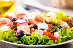 Greek salad. Salad with fresh vegetables and feta cheese Stock Photo