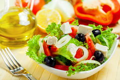 Greek salad. Greek vegetable salad with feta cheese Stock Image