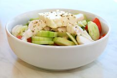 Greek salad. Bowl of traditional greek salad Royalty Free Stock Images