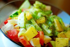 Greek salad. Vegetables ingredients of greek or italian salad Royalty Free Stock Images