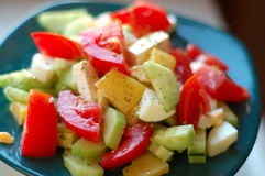 Greek salad. Vegetables ingredients of greek or italian salad Stock Image