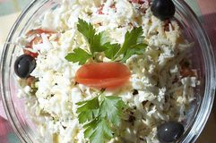 Greek salad. Vegetables ingredients of greek or bulgarian italian salad Stock Image
