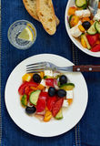 Greek salad. With feta cheese, olives and vegetables Stock Photography