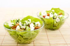 Greek salad. (feta, cucumber, pomato, salad, olives Stock Photos