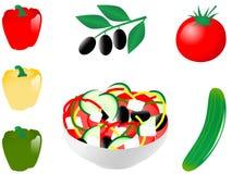 Greek salad. Vector illustration of vegetable salad Stock Photo
